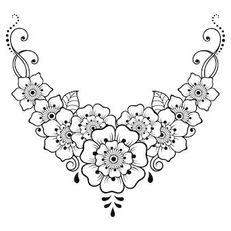 Менди цветочный узор для рисунка хной и татуировки. оформление в этническом восточном, индийском стиле. каракули орнамент. наброски руки нарисовать векторные иллюстрации.