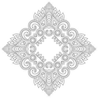 花の装飾とマンダラの形のパターン。エスニックオリエンタルスタイルの装飾的な飾り。概要落書き手描きイラスト。