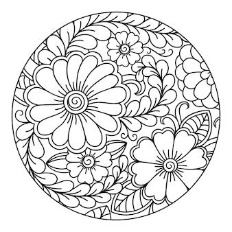 Контур круглый цветочный узор для раскраски страницы книги.