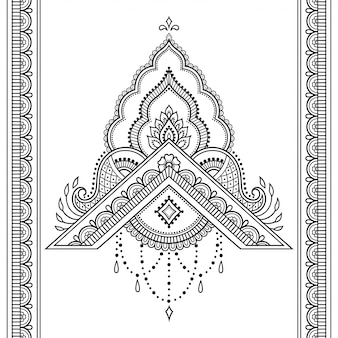 一時的な刺青の花とヘナの描画とタトゥーの境界線のシームレスなパターン。
