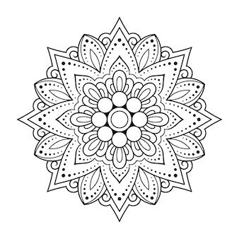 Круглый узор в виде мандалы с цветком для хны, менди, тату, украшения.