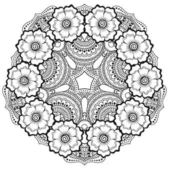 花の装飾とマンダラの形で、エスニックオリエンタルスタイルの円形の装飾飾り。落書き手描きイラストの概要を説明します。
