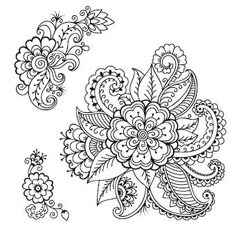 エスニックオリエンタル、インド風の一時的な刺青の花装飾のセット。飾りを落書き。手描きイラストを概説します。