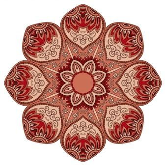 装飾または印刷用の花とマンダラの形の色の円形パターン。エスニックオリエンタルスタイルの装飾的な飾り。白地に赤のデザイン。