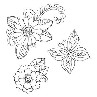 Набор цветочных узоров менди для рисования и татуировки хной. оформление в этническом восточном, индийском стиле. каракули орнамент. наброски руки нарисовать векторные иллюстрации.