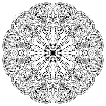 Круглый узор в виде мандалы с цветком для хны, менди, тату, украшения. декоративный орнамент в этническом восточном стиле.