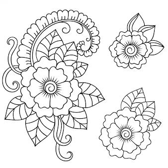 Набор из менди цветочный узор. оформление в этническом восточном, индийском стиле. каракули орнамент. наброски руки нарисовать.