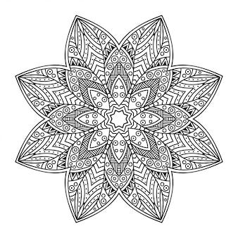 Круговой узор в форме мандалы с цветком. декоративный орнамент в этническом восточном стиле. наброски каракули рука рисовать иллюстрации.