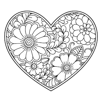 Менди цветочный узор в форме сердца с лотосом. оформление в этническом восточном, индийском стиле. страница книжки-раскраски.
