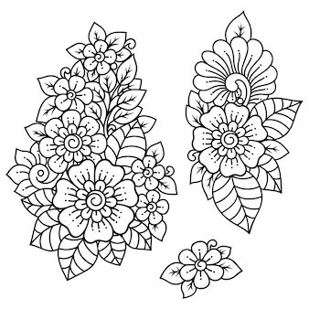 一時的な刺青の花のセット。エスニックオリエンタル、インド風の装飾。飾りを落書き。手描きイラストを概説します。