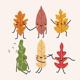 孤立したパステルの愛らしい秋葉セット