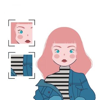 ピンクの髪とブルージーンズのかわいい女の子のイラスト