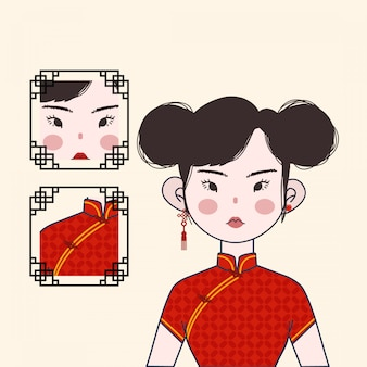 赤い伝統的な衣装でかわいい中国の女の子