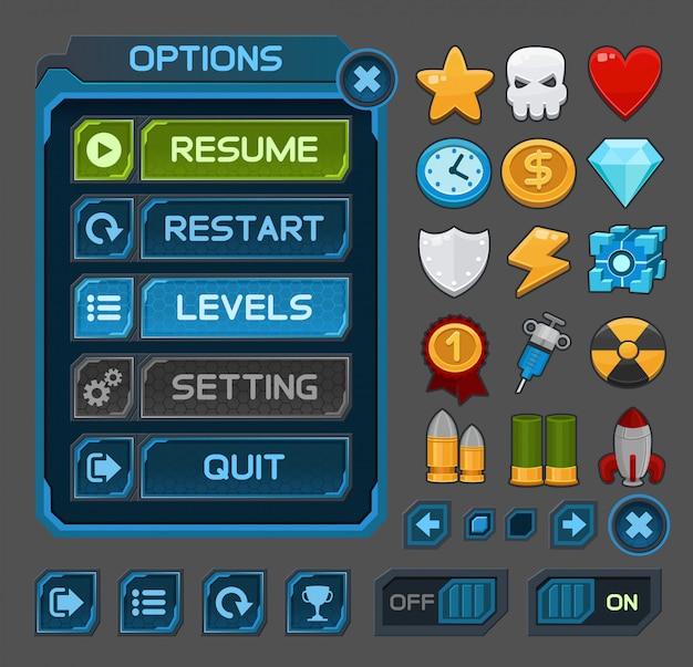 Кнопки интерфейса для космических игр или приложений