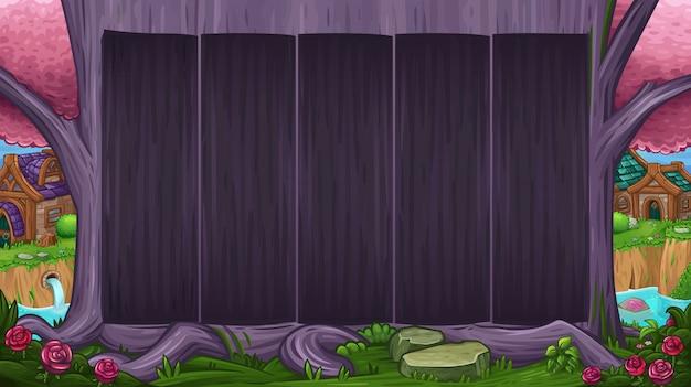 魔法の紫の木と美しい谷