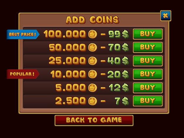 Добавить интерфейс монет для игр