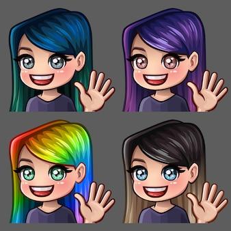 Эмоции привет иконки улыбка девушки с длинными волосами для социальных сетей и наклейки