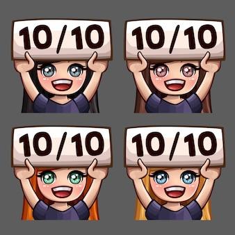 Эмоциональные иконки счастливой десяти из десяти женщин с длинными волосами для социальных сетей и стикеров