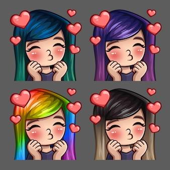 Эмоции иконки счастливых женских поцелуев с длинными волосами для социальных сетей и наклейки