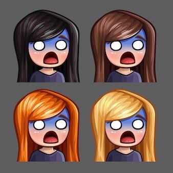Эмоциональные иконки напуганной девушки с длинными волосами для социальных сетей и стикеров