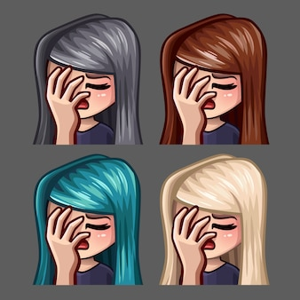 Эмоции иконки женского лица с длинными волосами для социальных сетей и наклейки