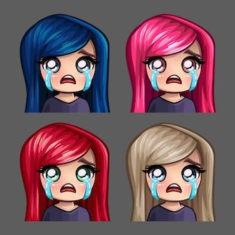 ソーシャルネットワークとステッカーの長い髪の女性を泣いている感情アイコン