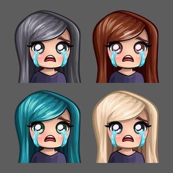 Эмоциональные иконки плачущей женщины с длинными волосами для социальных сетей и стикеров