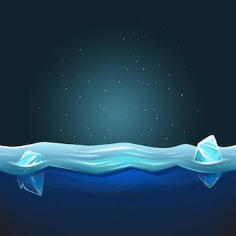 背景に水と氷が溶けている