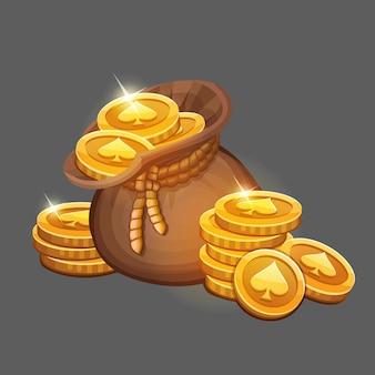 Мешок с золотыми монетами