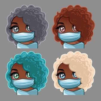 医療マスクのアフリカ系アメリカ人の巻き毛の女性
