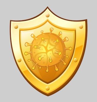 Золотой щит с иконой коронавируса