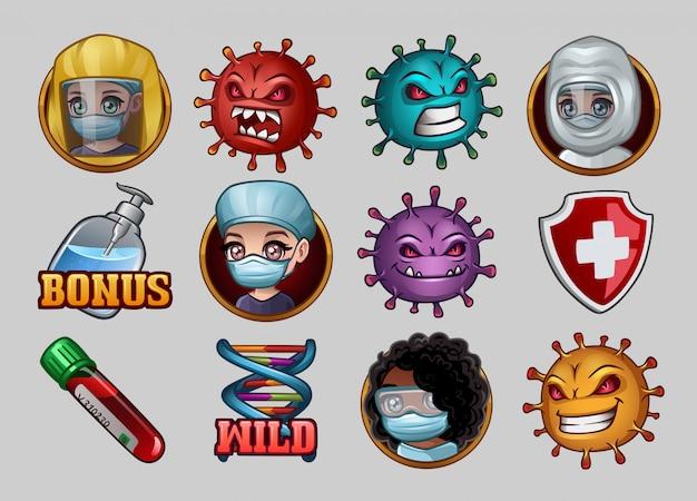 Набор иконок для игровых автоматов с коронавирусом