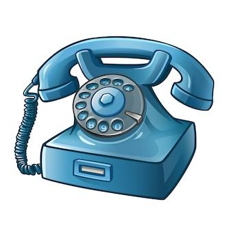 青いレトロ電話