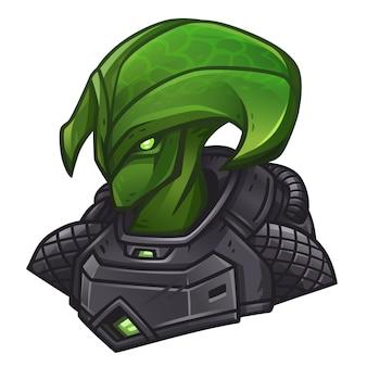 Зеленый значок инопланетянина для космического игрового автомата