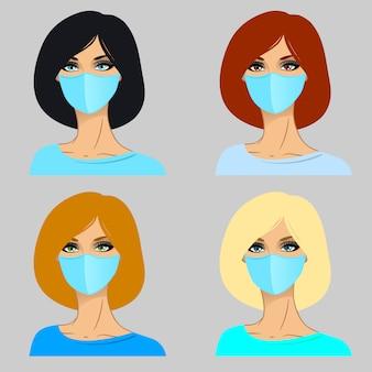 Женщины в медицинской маске.