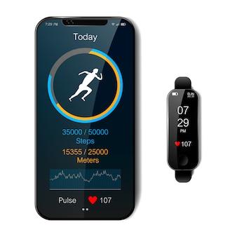 黒のスマートな時計とスマートフォン。トラッカーと心拍数メーター、健康的なライフスタイルコンセプト、現実的なベクトル図を実行しているモバイルフィットネスアプリ