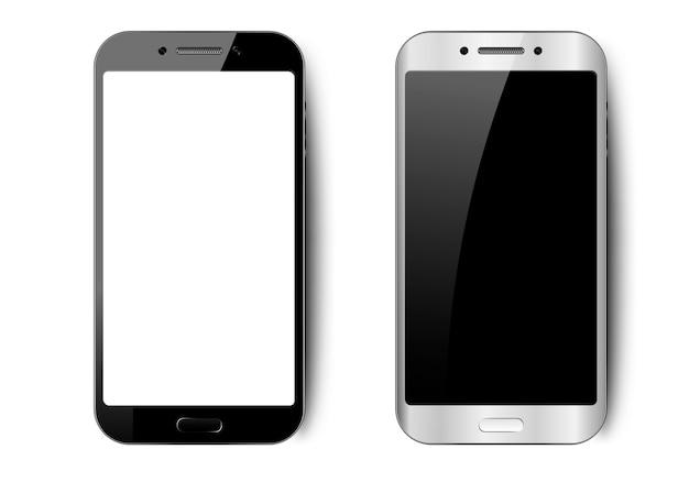 影、カメラ、まぶしさ、空の画面を持つ携帯電話と黒と白のスマートフォン