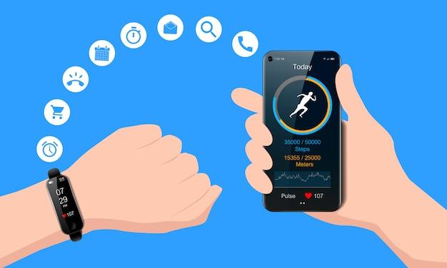 手とスマートフォン、トラッカーと心拍数メーターを実行しているモバイルフィットネスアプリ、健康的なライフスタイルのコンセプト、現実的な黒い時計
