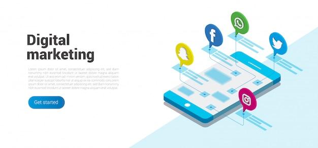 ソーシャルメディアとデジタルマーケティングの最新のフラットデザインアイソメトリックコンセプト