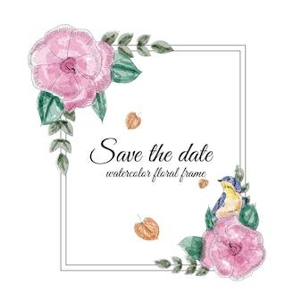 Акварель цветочная рамка с ласточками