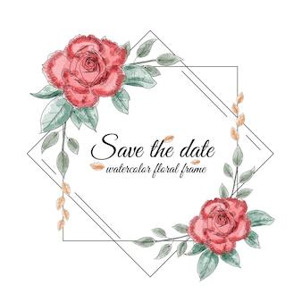 Акварель цветочная рамка с розами
