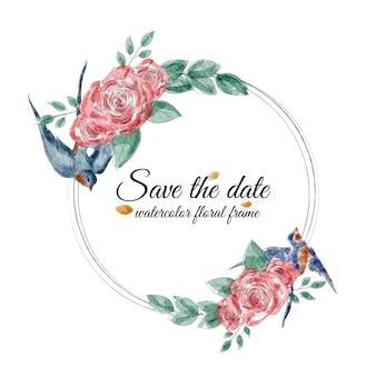Акварель цветочная рамка с ласточками и розами
