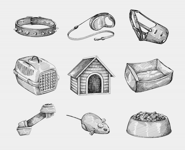 ペット用品の手描きスケッチセット。いばらのついた犬の首輪、引き込み式の犬の鎖、口輪(マウスガード)、木製の犬小屋、ペット用の荷台、ペット用のベッド、結び目の犬の骨。マウスロボット玩具;ペットフードボウル