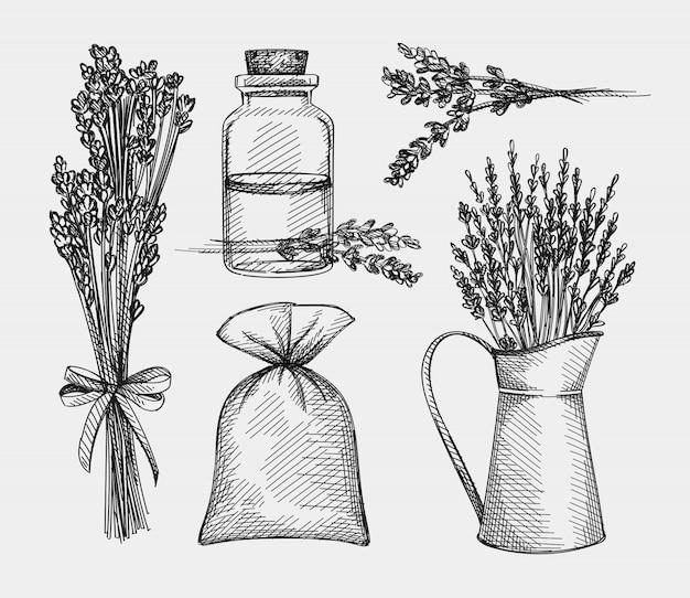 ラベンダーの手描きスケッチセット。ラベンダートリートメント。ハーブと植物。ガラスの瓶、ハーブの袋、ラベンダーの束、金属の瓶にラベンダーの花のラベンダーの花
