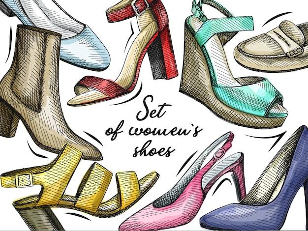 カラフルな手描きの女性靴のセット。ブロックヒール、ミディアムヒールのアンクルブーツ、バレリーナフラット、パンプス、スティレット、オープントゥサンダル、スリングバックヒール、ウェッジサンダル、ローファー、スリッパ、モカシン。
