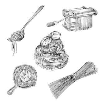 パスタとスパゲッティの手描きスケッチセット。フォークに巻いたスパゲッティ、フライパンにスパゲッティ、生スパゲッティ、パスタ製造機