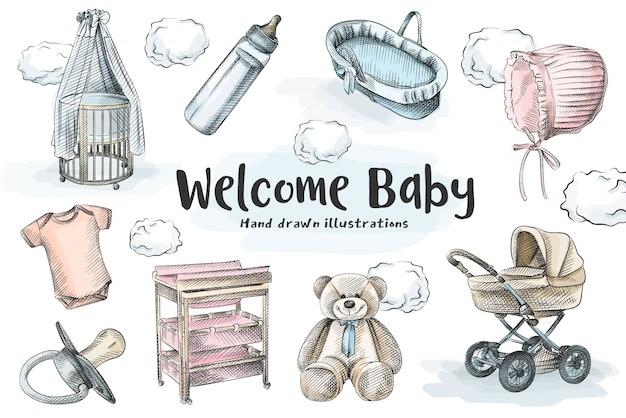 生まれたばかりの赤ちゃんのセットのカラフルな手描きのスケッチ。ベビーカー、クレードル、ベビーベッド、テディベア、コットンハット、半袖ボディスーツ、クレードル、おむつ交換台、牛乳瓶、おしゃぶり。