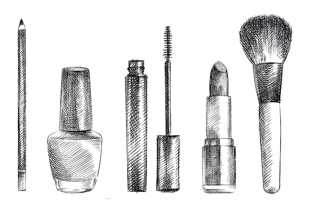 メイクアップや化粧品のツールの手描きスケッチセット。眉用鉛筆、マスカラチューブ、マスカラブラシ、口紅、パウダーブラシ、マニキュアチューブ