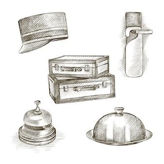 ホテルのテーマの手描きスケッチセット。セットには、靴べら、スーツケース、コンシェルジュキャップ、テーブルベル、クローズドフードトレイが含まれます
