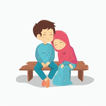 ロマンチックなイスラム教徒のカップル